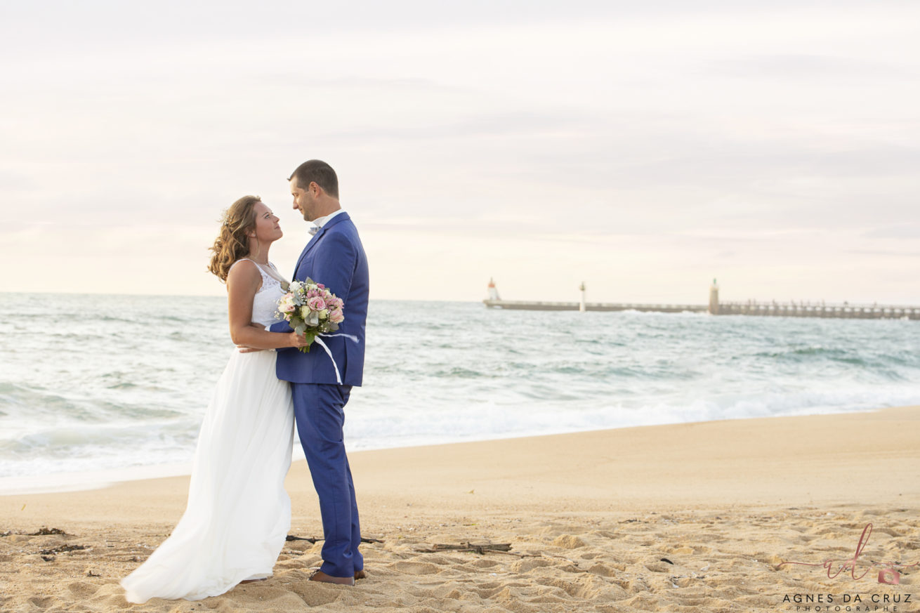 Shooting photo couple LANDES PLAGE ROBE MARIEE
